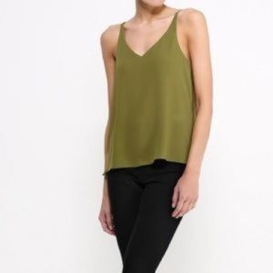 TopShop Olive Green Tank Blouse sz 2 xs Top